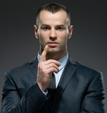 Manager making forefinger gesture Stock Photos