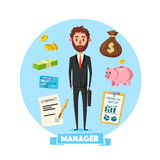 Manager man with vector office business items Stock Images