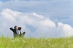 Manager on the meadow Royalty Free Stock Photo