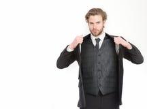 Manager met baard op ernstig gezicht royalty-vrije stock foto