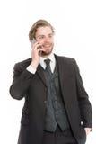 Manager met baard op het glimlachen gezicht stock foto's