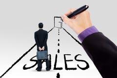 Manager met een deur om verkoop te verhogen Stock Afbeeldingen