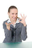 Manager met een sleutelbos stock foto