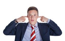 Manager met gesloten oren stock afbeelding