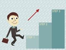 Manager mit der infographic Schablone von drei Schritten Lizenzfreie Stockfotos