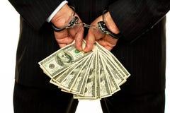 Manager mit Dollarscheinen Stockbild