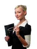 Manager mit Gläsern und einem Faltblatt lizenzfreie stockbilder