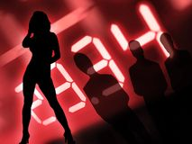 Manager nightlife. Group of men and dancing women at nighttime Royalty Free Stock Photography