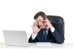 Manager with notebook at the phone Stock Photo