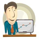 Manager- oder Geschäftsmannstand nahe der Tabelle, die gut funktionierendstes Diagramm zeigt Flache Illustration der Vektorkarika Lizenzfreie Stockfotografie