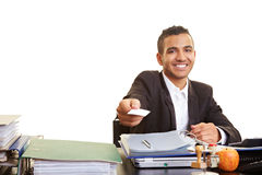 Manager offering business card Stock Photo