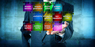IT Manager Offering Information Security Puzzle Stock Image