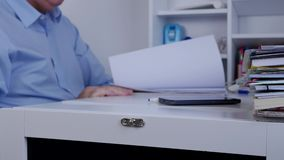 Manager in Office Searching in Documents from Financial Archive.  stock video