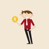 Manager,Office Worker or businessman with the golden coins  Stock Photo