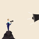 Manager,Office Worker or businessman holding small megaphone wit Royalty Free Stock Image