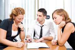 Manager with office workers Stock Photo