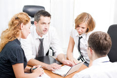 Manager with office workers on meeting Royalty Free Stock Image