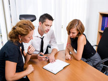 Manager with office workers on meeting Stock Images