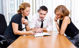 Manager with office workers on meeting Royalty Free Stock Photography