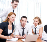 Manager with office workers on meeting Stock Image