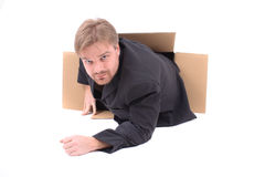 Manager in paper box Royalty Free Stock Photography