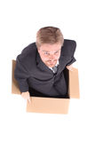 Manager in paper box Stock Photo