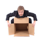 Manager and paper box Royalty Free Stock Photo