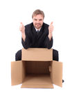 Manager and paper box Royalty Free Stock Photos