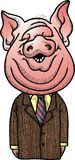 Manager and pig head Royalty Free Stock Photo