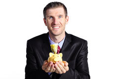 Manager with piggybank Stock Photography