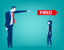 Manager pointing fired at businessman. Manager pointing fired at businesswoman. Losing a job. Unemployed people. Concept business illustration. Vector flat Royalty Free Stock Photography