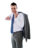 Manager pointing at you. Coat on his shoulders Royalty Free Stock Images