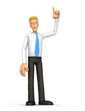 Manager points his finger at the top. Illustration of an abstract 3d character on a white background for use in presentations, etc Royalty Free Stock Photos
