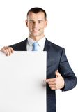 Manager points at paper copyspace Royalty Free Stock Image