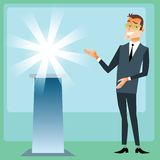 Manager presents product brand. Businessman on the presentation of the new brand stock illustration