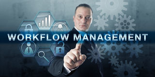 Manager Pressing WORKFLOW MANAGEMENT royalty free stock image