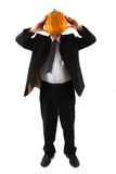 Manager with pumpkin head Stock Photo