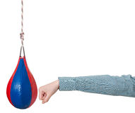 Manager punches punching bag isolated Royalty Free Stock Photo