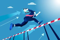 Manager race jumping over obstacles. Business man jumping over obstacles a manager race concept. Overcome obstacles concept. Man jumping over obstacles like Stock Images