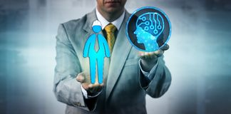 Manager Raising AI Above One Blue Collar Worker. Unrecognizable entrepreneur raising an artificial intelligence system above a male blue collar worker. Business royalty free stock images