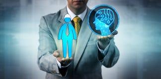 Manager Raising AI boven Één Handarbeider royalty-vrije stock afbeeldingen