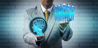 Manager-Raising Blue Collar-Arbeitskraft Team Above AI lizenzfreies stockfoto