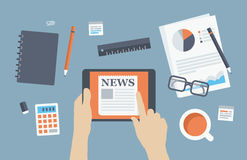 Manager reading news flat illustration Stock Photography