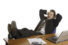 Manager reduce stress by relaxing with cigar  Royalty Free Stock Photos