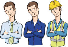 Manager repairman and construction worker with arms crossed. Vector illustration of manager repairman and construction worker with arms crossed. Easy-edit Stock Photography