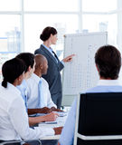 Manager reporting sales figures to her team Royalty Free Stock Image