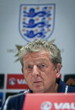 Manager Roy Hodgson of England. KYIV, UKRAINE - SEPTEMBER 9, 2013: Manager of England National Football Team Roy Hodgson attends a press-conference before FIFA Royalty Free Stock Photography
