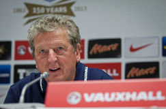 Manager Roy Hodgson of England. KYIV, UKRAINE - SEPTEMBER 9, 2013: Manager of England National Football Team Roy Hodgson attends a press-conference before FIFA Royalty Free Stock Photos