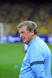 Manager Roy Hodgson of England. KYIV, UKRAINE - SEPTEMBER 9, 2013: England National football team manager Roy Hodgson looks on during training session before Stock Images