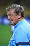 Manager Roy Hodgson of England. KYIV, UKRAINE - SEPTEMBER 9, 2013: England National football team manager Roy Hodgson looks on during training session before Stock Image